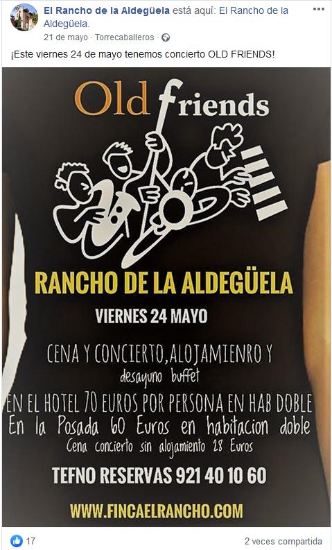 publicación Facebook mayo El Rancho de la Aldegüela